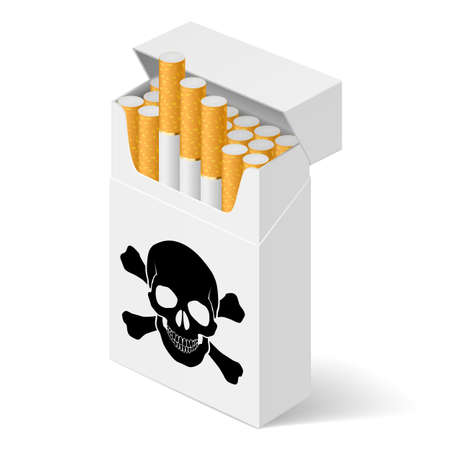 tobacco product: Pack of cigarettes with black skull. Illustration of designer on  white background