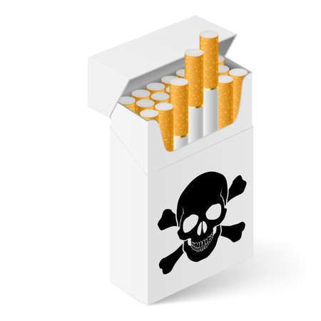 White Pack of cigarettes with black skull. Illustration of designer on  white background Stock Vector - 16955096