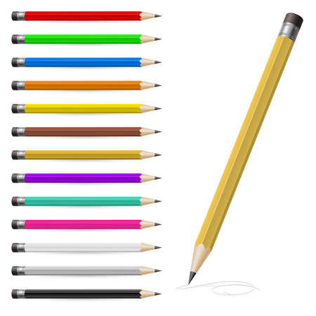 art supplies: Set of Coloured pencils. Illustration on white background