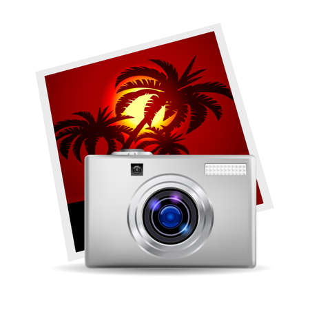 Realistic digital camera and photo. Illustration on white background Vector