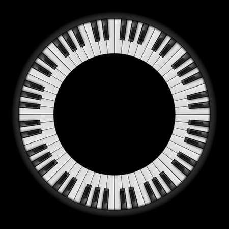 Piano tasti. Illustrazione circolare, per il design creativo su fondo nero