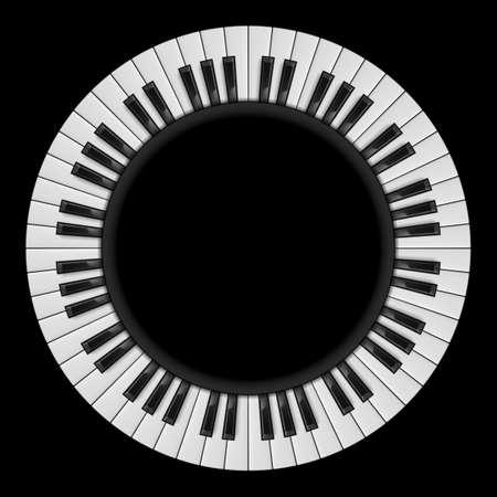 Teclas del piano. Ilustración abstracta, para el diseño creativo en negro