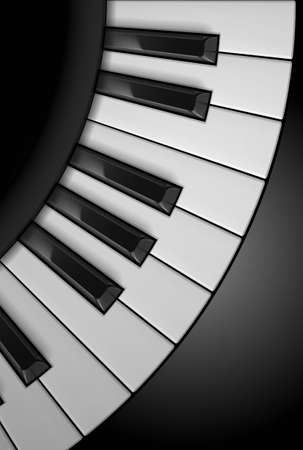 black piano: Piano keys. Illustration on black background, for design
