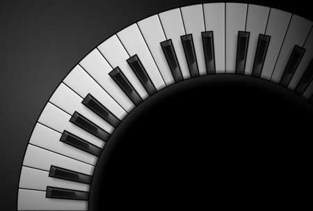 teclado de piano: Llaves del piano sobre fondo negro. Ilustración para el diseño