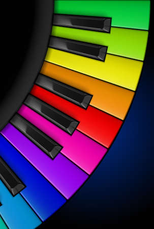 black piano: Rainbow Piano keys. Vertical Illustration for design
