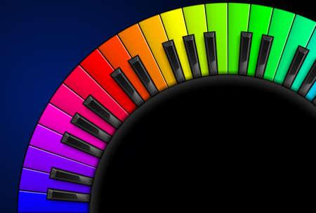 teclado de piano: Piano del arco iris teclas Ilustraci�n sobre fondo negro, para el dise�o