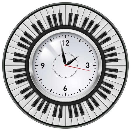 Office Clock realista e Ilustración Piano claves sobre fondo blanco