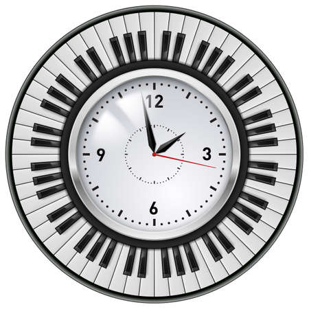 black piano: Realistic Office Clock and Piano keys  Illustration on white background