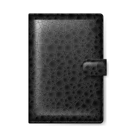 pocketbook: Black leather wallet  Illustration on white background