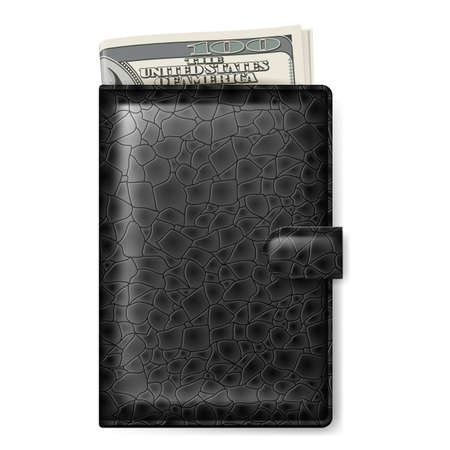 Black Leather wallet with dollars  Illustration on white Stock Vector - 16961210