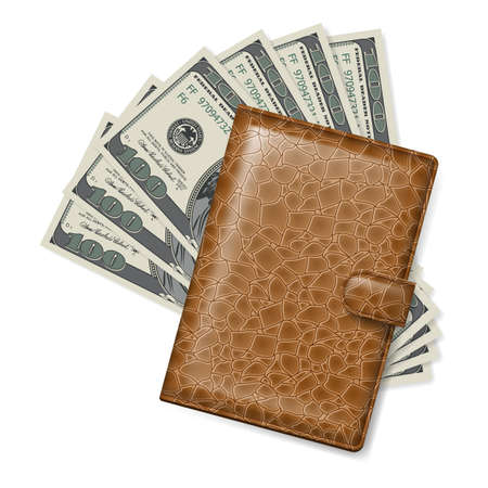 us currency: Brown Leather wallet with dollars  Illustration on white Illustration