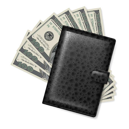 Leather wallet with dollars  Illustration on white Vector