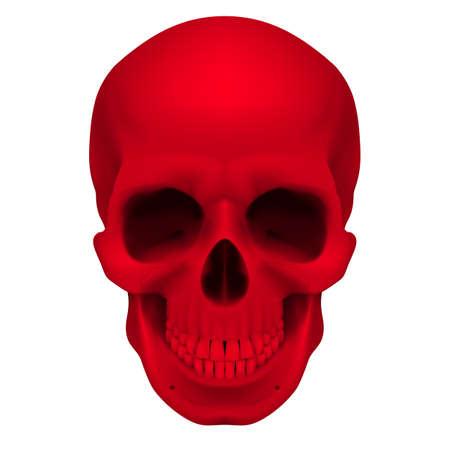 reaper: Realistische roten Sch�del. Illustration f�r Designer auf einem wei�en Hintergrund.