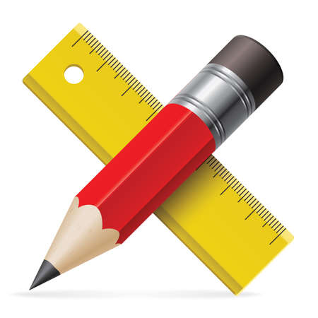 pencil symbol: Pencil and ruler icon.  Illustration on white bavkground
