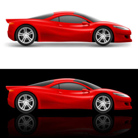 luxury cars: Red Sport Car Icon. Illustration on white and black