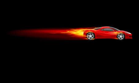 resplandor: Red Car Deporte. Burnout dise�o. La ilustraci�n en negro
