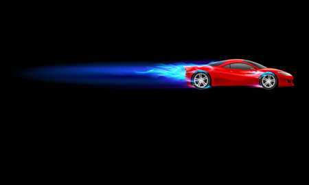 Red Sport Car. Blue Burnout design. Illustration on black Vector