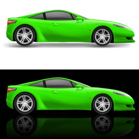 coupe: Green Sport car icon. Illustration on white and black