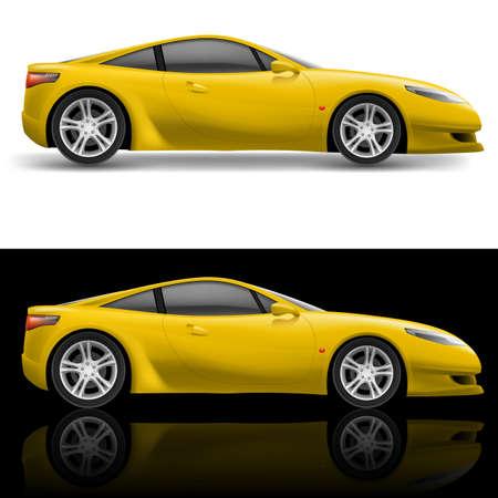 course de voiture: Ic�ne jaune voiture de sport. Illustration sur fond blanc et noir Illustration