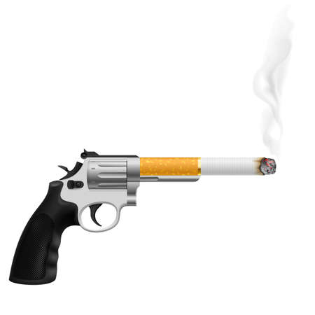 harm: Revolver with a cigarette. Illustration on white