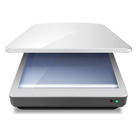 scanner: Opened Office Scanner. Illustration on white background