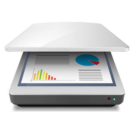 kopie: Otevřeno Office A4 skener. Ilustrace na bílém Ilustrace