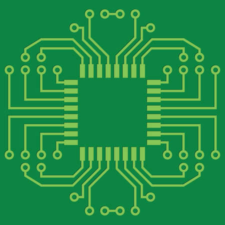 electric circuit: Illustration of Green Seamless Printed Circuit Board Illustration