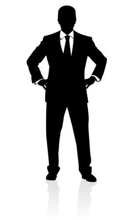 face silhouette: Business man in suit and tie silhouette. Illustration on white