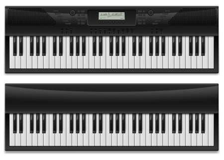teclado de piano: Dos sintetizador realista. Ilustraci�n del dise�ador en el fondo blanco