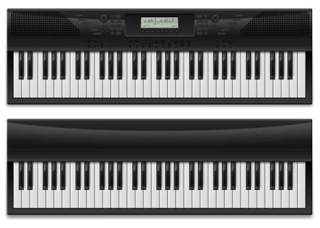 keyboard player: Two realistic synthesizer.  Illustration of designer on white background