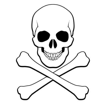 calavera pirata: Calavera y tibias cruzadas. Ilustración sobre fondo blanco para el diseño Vectores