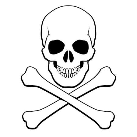 Skull and crossbones. Illustration on white background for design Vector