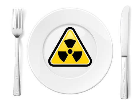 radiation sign: Dangerous food symbol represented by a Fork and Knife with a Plate and a graphic of a Radiation sign