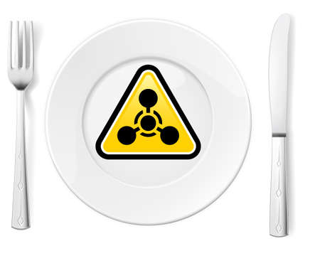 famine: Dangerous food symbol represented by a Fork and Knife with a Plate and a graphic of a Chemical Weapon sign