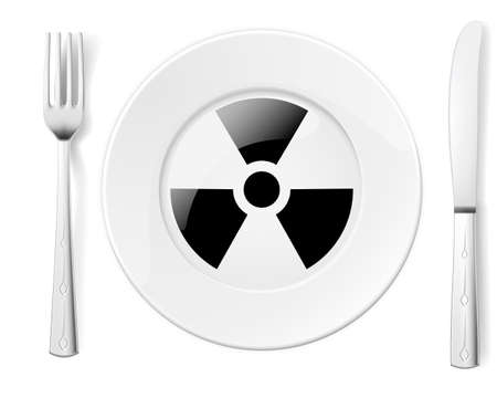 food poison: Dangerous food symbol represented by a Fork and Knife with a Plate and a graphic of a Black Radiation sign