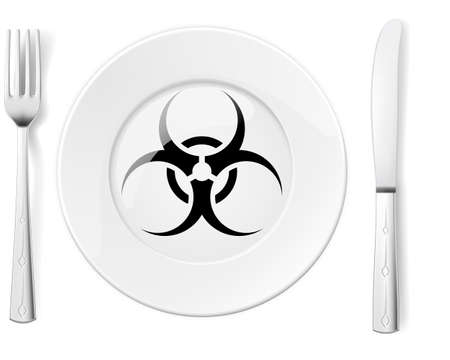 Dangerous food symbol represented by a Fork and Knife with a Plate and a graphic of a Black Biohazard sign Vector