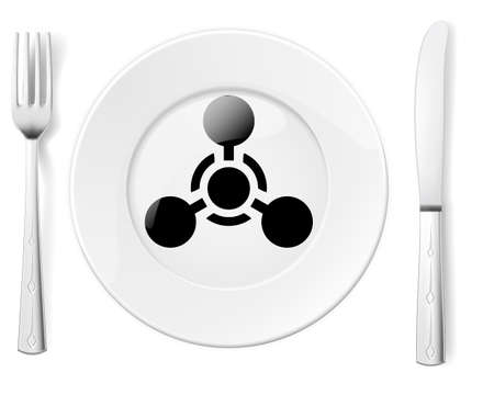 famine: Dangerous food symbol represented by a Fork and Knife with a Plate and a graphic of a black Chemical Weapon sign