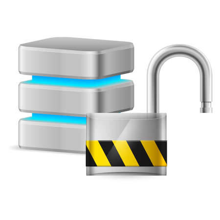 Open padlock - computer security concept. Illustration on white background Vector