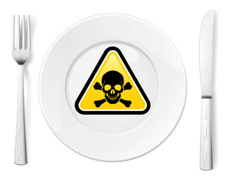 Dangerous food symbol represented by a Fork and Knife with a Plate and a graphic of a Poison sign Stock Photo - 16970067
