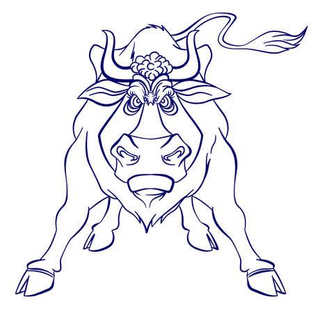 toro arrabbiato: Silhouette grafica del toro infuriato. Illustrazione su sfondo bianco Vettoriali