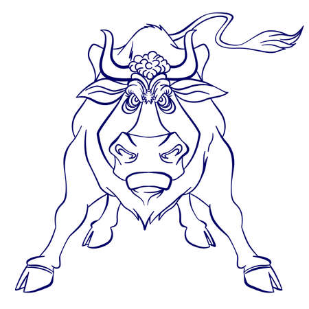 Silhouette graphic of Angry bull. Illustration on white background Иллюстрация