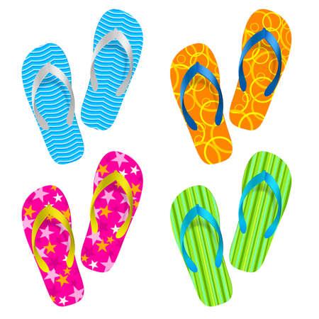 a thong: Flip flop set. Illustration on white background Illustration