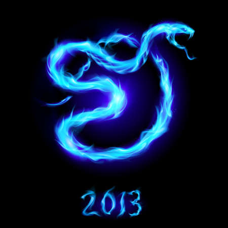 Christmas card with blue fire snake. Illustration on black Vector