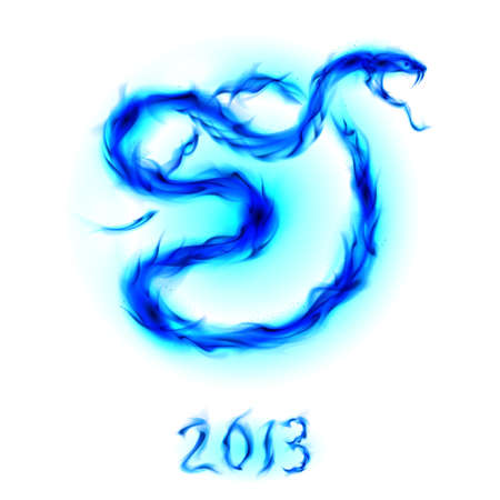Christmas card with blue fire snake. Illustration on white Vector