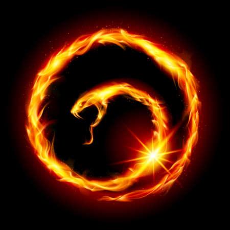 brandweer cartoon: Abstracte spiraal slang. Illustratie op zwarte achtergrond