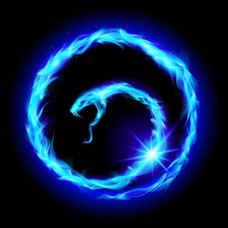 Abstract spiral blue snake. Illustration  on black background Vector