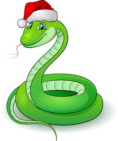 cowl: Cartoon illustration of a snakes. Illustration on white