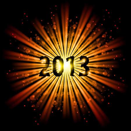 twenty thirteen: Gold abstract Happy New Year Twenty Thirteen background