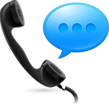 cabina telefonica: Auricular negro y azul speechbox. Ilustración para el diseño en fondo blanco