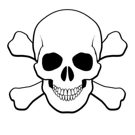 crane pirate: Cr�ne de pirate et os crois�s. Illustration sur fond blanc